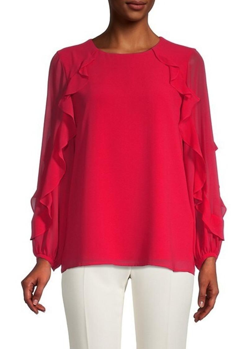 Calvin Klein Ruffled Long-Sleeve Top