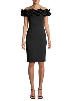 Calvin Klein Ruffled Off-The-Shoulder Sheath Dress
