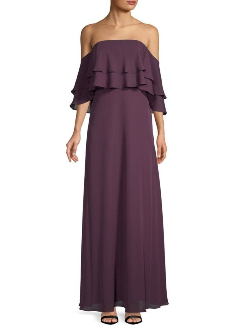 Calvin Klein Ruffled Overlay Floor-Length Dress