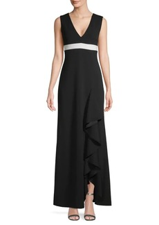 Calvin Klein Ruffled Slit Long A-Line Dress