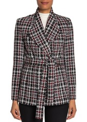 Calvin Klein Self Tie Belt Tweed Jacket