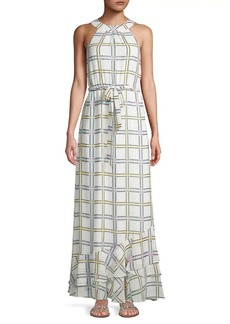 Calvin Klein Self-Tie Grid-Print Maxi Dress