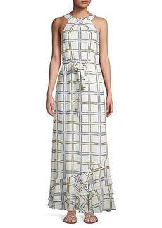 Calvin Klein Self-Tie Grid-Print Maxi Dress