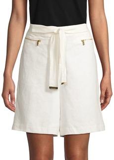 Calvin Klein Self-Tie Linen Shorts