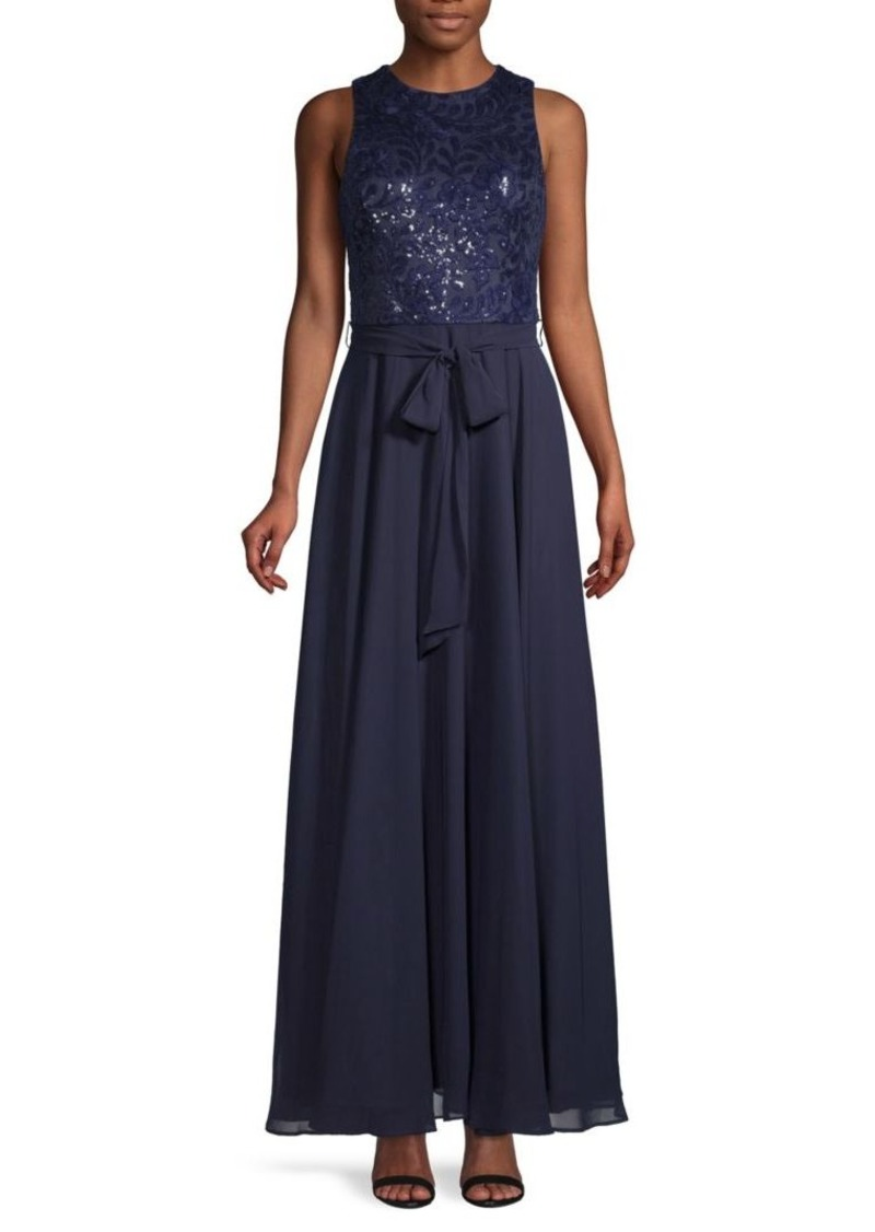 Calvin Klein Sequin & Bow Gown