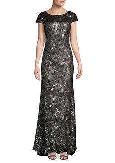 Calvin Klein Sequin-Embellished Column Gown