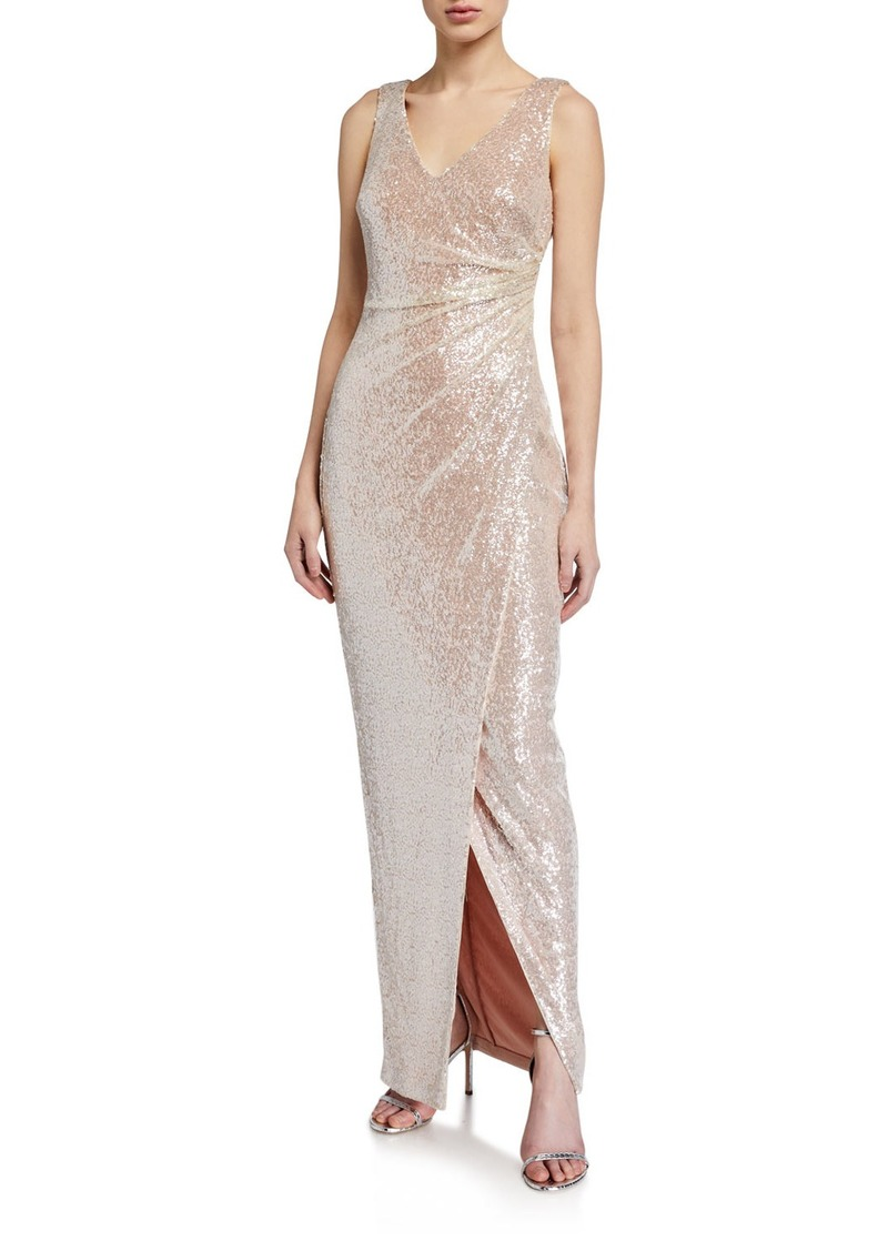 Calvin Klein Sequin Side-Ruched Column Gown