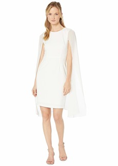 Calvin Klein Sheath Dress w/ Chiffon Cape