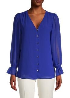 Calvin Klein Sheer-Sleeve Blouse