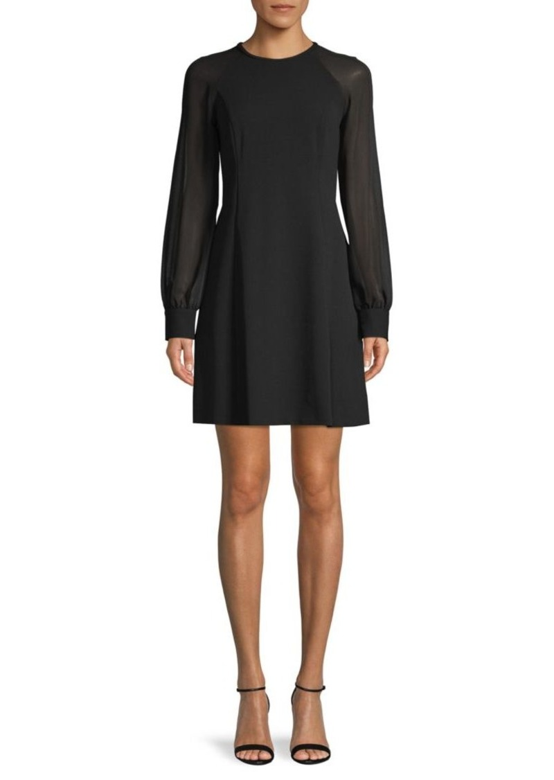 Calvin Klein Sheer-Sleeve Mini Dress