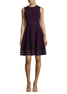 Sheer Trim Roundneck Dress