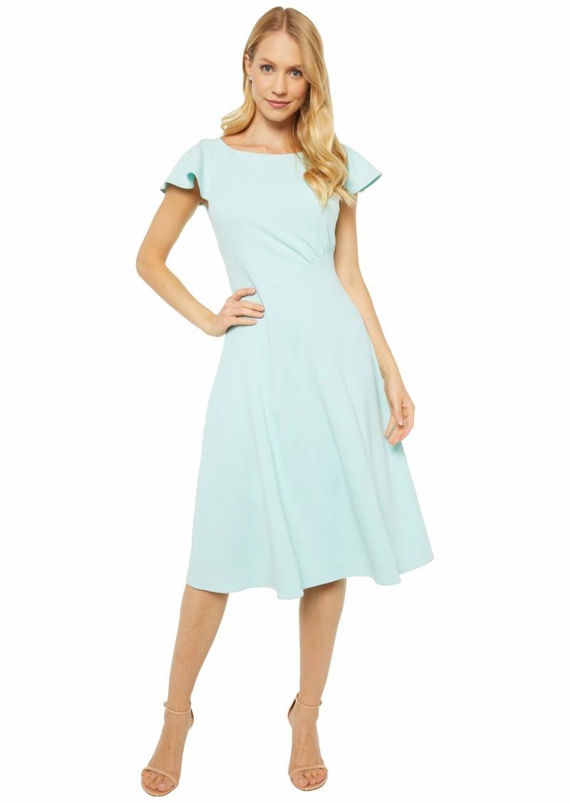 Calvin Klein Short Sleeve A-Line Dress with Seam Detail