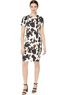 Calvin Klein Short Sleeve Animal Print Sheath Dress