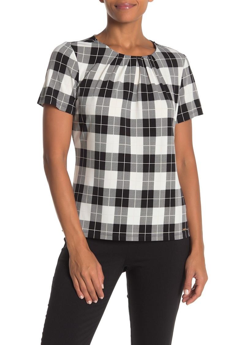Calvin Klein Short Sleeve Checkered Blouse