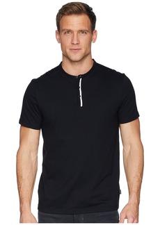 Calvin Klein Short Sleeve Flat Knit Trimmed Jersey Henley