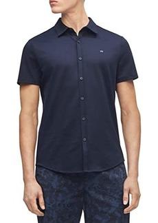 Calvin Klein Short Sleeve Liquid Touch Button-Up Polo Shirt