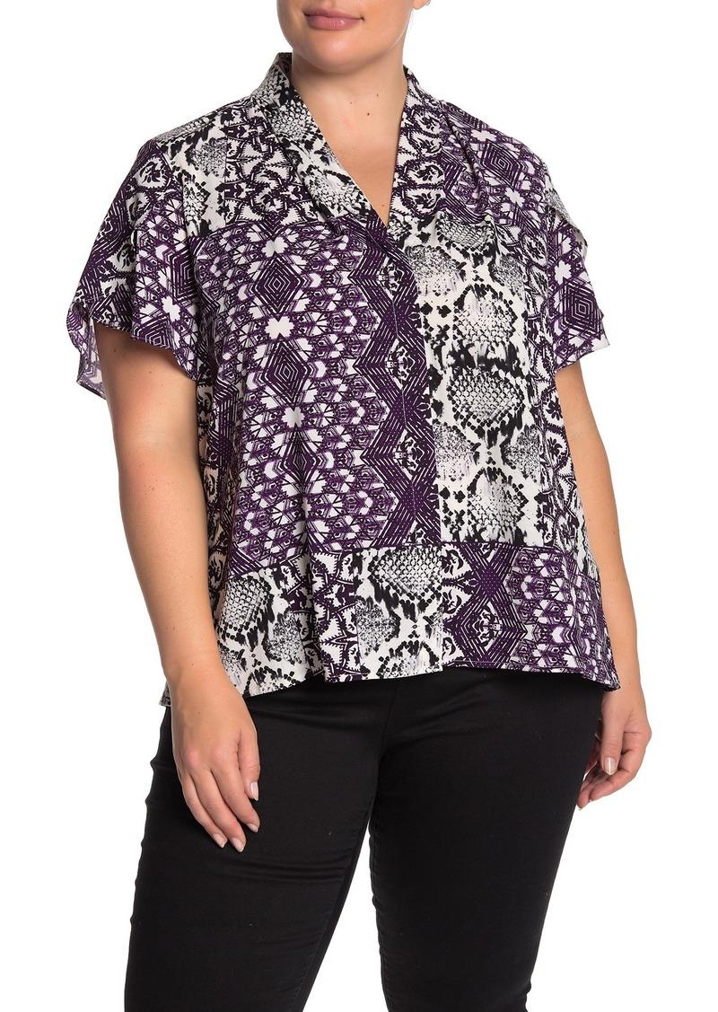 Calvin Klein Short Sleeve Printed Blouse (Plus Size)