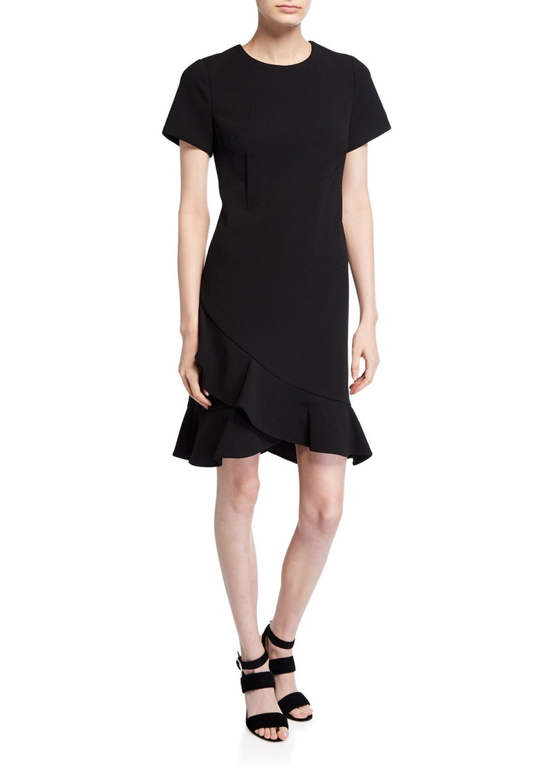Calvin Klein Short-Sleeve Ruffle-Hem Dress