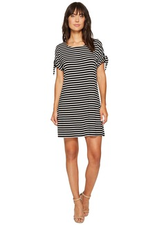 Calvin Klein Short Sleeve Striped Dress with Tie Sleeve