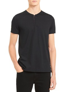 Calvin Klein Shoulder Piping Hidden Placket Short-Sleeve Henley