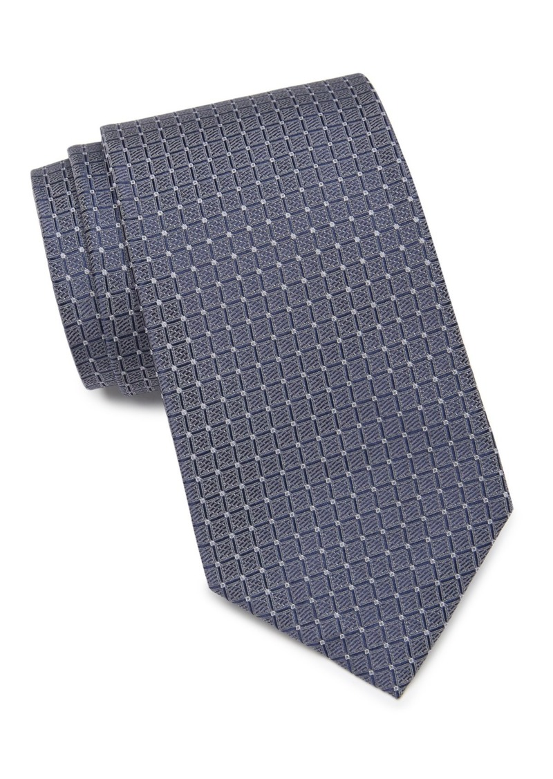 Calvin Klein Simple Grid Silk Tie