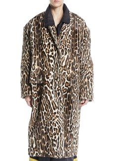 Calvin Klein Single-Breasted Oversized Leopard-Print Suede Coat