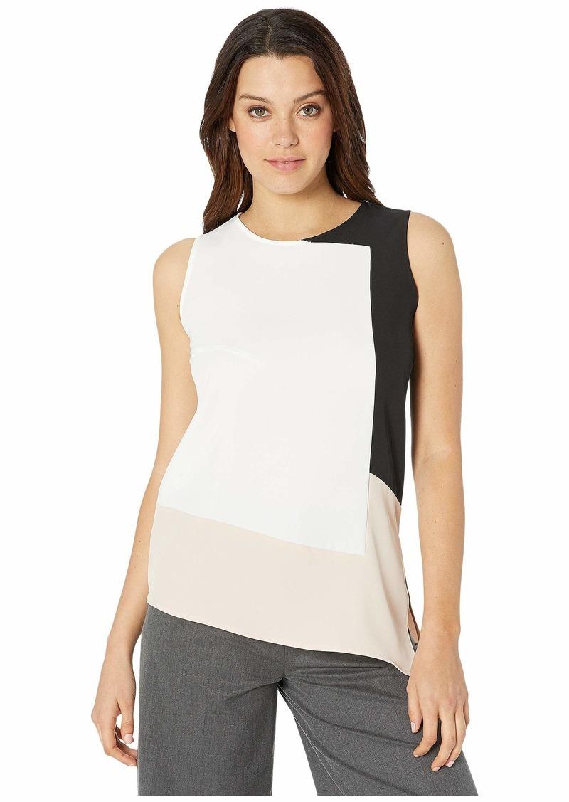 Calvin Klein Sleeveless Asymmetrical Color Block Blouse