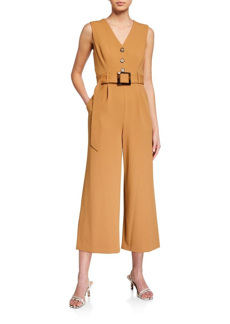 Calvin Klein Sleeveless Belted Wide-Leg Jumpsuit