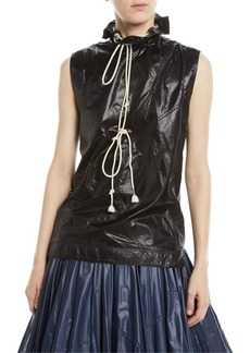 Calvin Klein Sleeveless Drawstring Stand-Neck Nylon Top