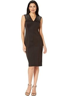 Calvin Klein Sleeveless Embellished Shoulder Sheath Dress