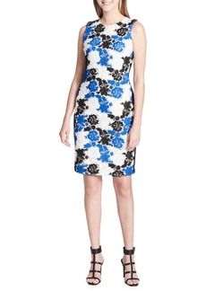 Calvin Klein Sleeveless Floral Crochet Sheath Dress