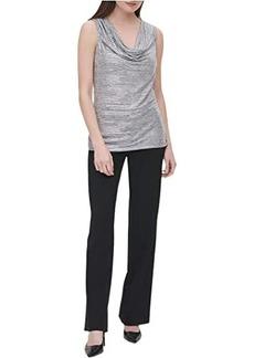 Calvin Klein Sleeveless Foil Drape Front Blouse