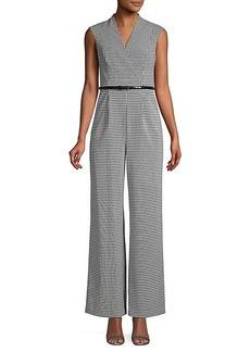 Calvin Klein Sleeveless Gingham-Print Belted Jumpsuit