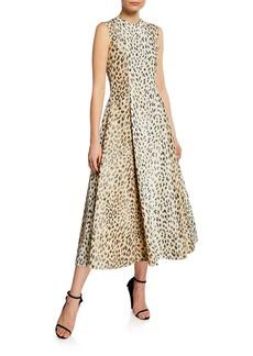 Calvin Klein Sleeveless Leopard-Print Silk Midi Dress