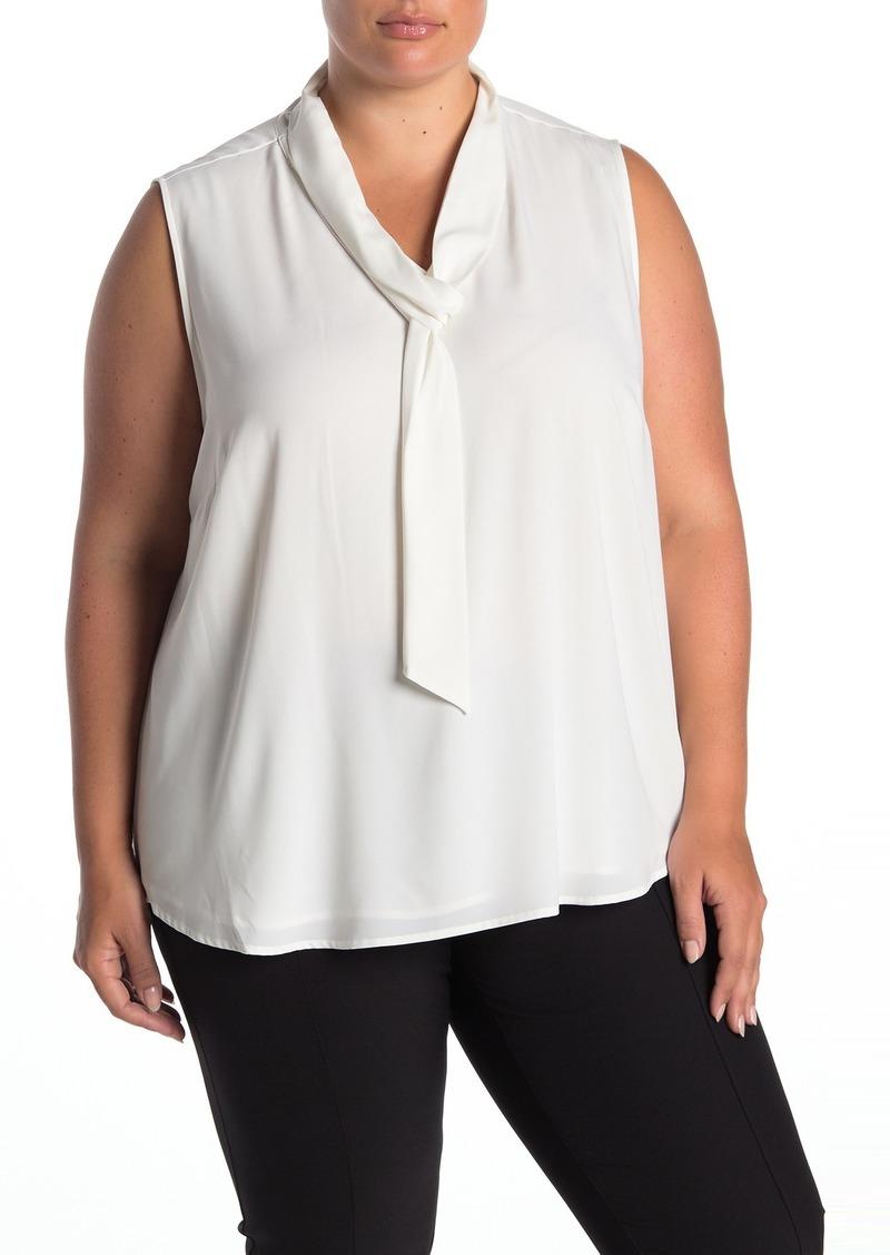 Calvin Klein Sleeveless Neck Tie Blouse (Plus Size)