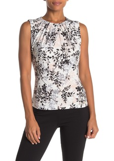 Calvin Klein Sleeveless Pleat Neck Blouse