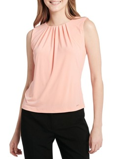 Sleeveless Pleated Neck Blouse