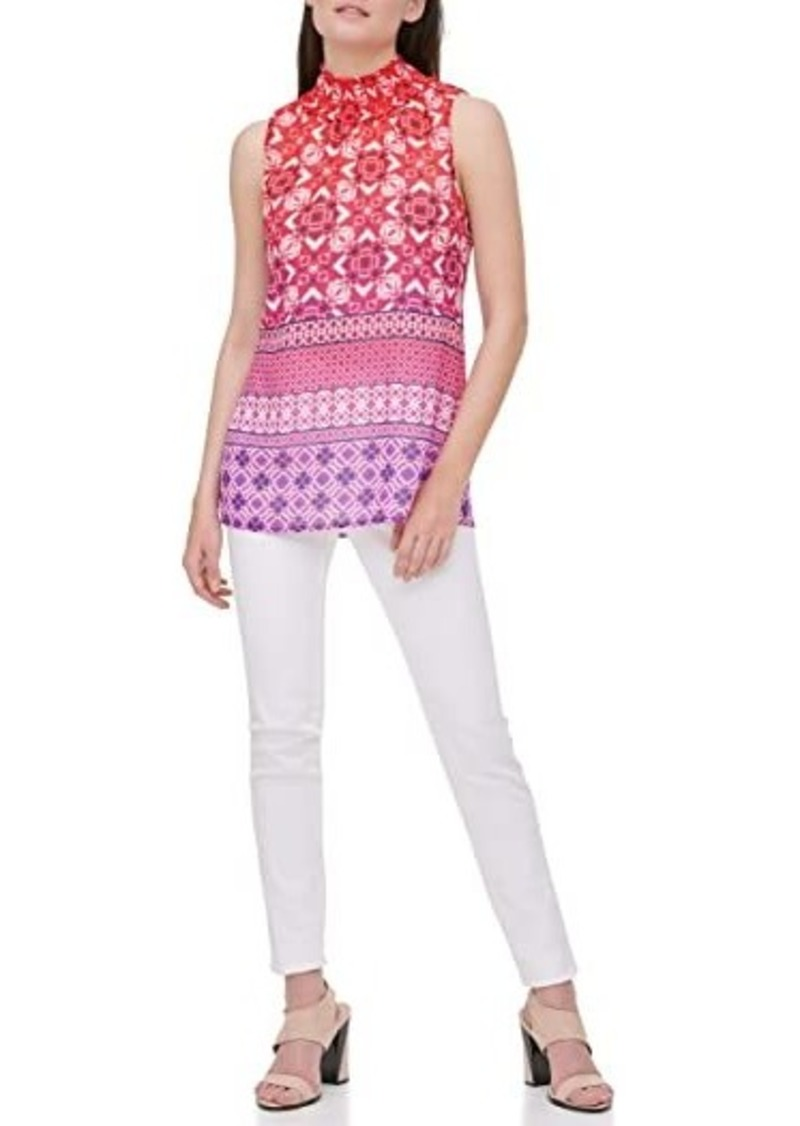 Calvin Klein Sleeveless Printed Blouse w/ Smocked Neck