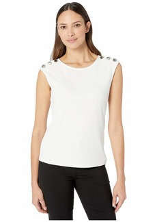 Calvin Klein Sleeveless Top with Buttons on Shoulder