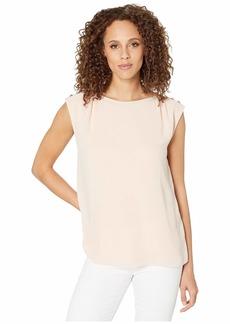 Calvin Klein Sleeveless w/ Chiffon & Pearls
