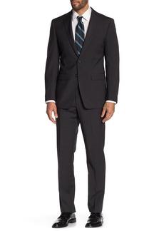 Calvin Klein Charcoal Solid Two Button Notch Lapel Slim Fit Suit