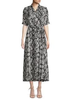 Calvin Klein Snakeskin-Print Wrap Dress
