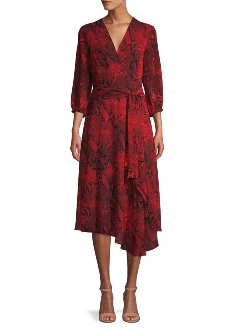 Calvin Klein Snakeskin-Print Wrap Dress