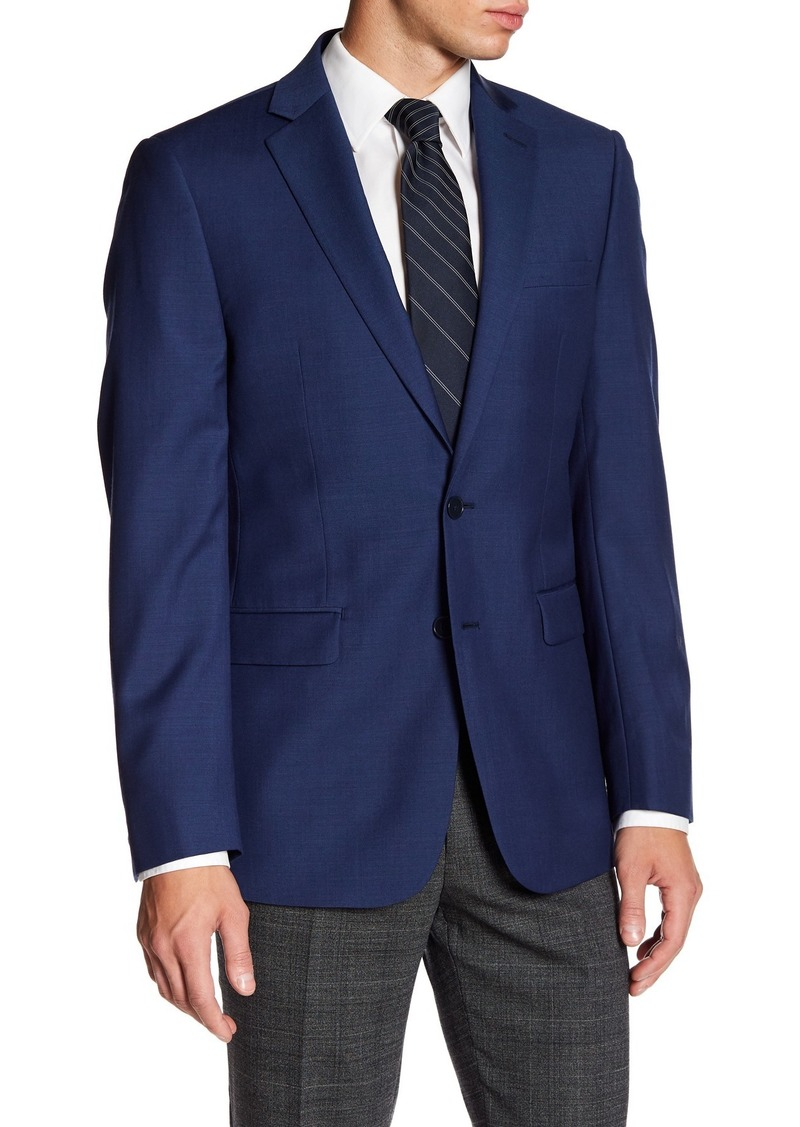 Calvin Klein Solid Blue Wool Suit Suit Separate Jacket