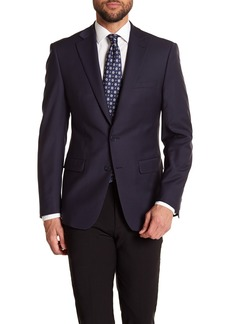 Calvin Klein Solid Navy Wool Suit Suit Separate Jacket