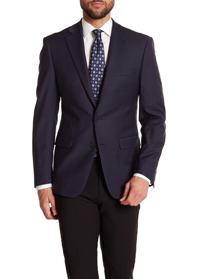 Calvin Klein Solid Navy Wool Suit Suit Separate Jacket