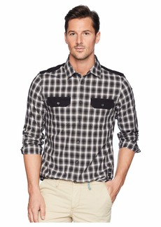 Calvin Klein Solid Pocket Flap Nebraska Check Button Down Shirt