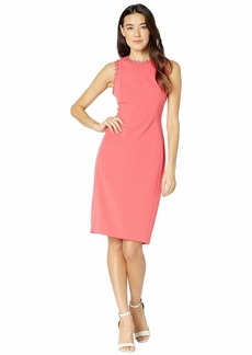 Calvin Klein Solid Sheath Dress with Flower Detail