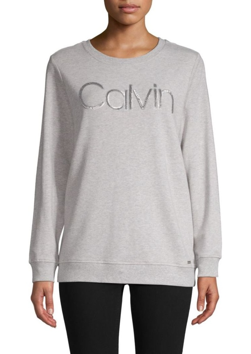 Calvin Klein Space-Dyed Sequin Logo Sweatshirt