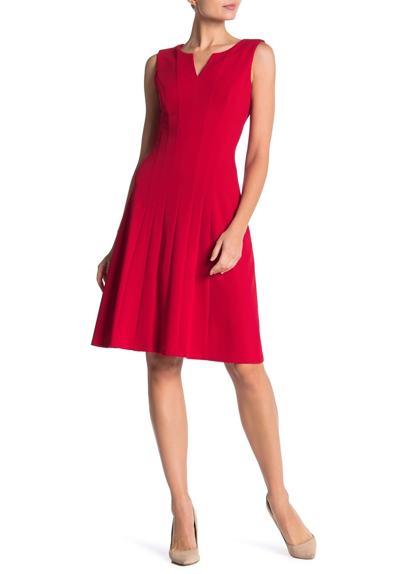 Calvin Klein Split Neck Fit & Flare Dress
